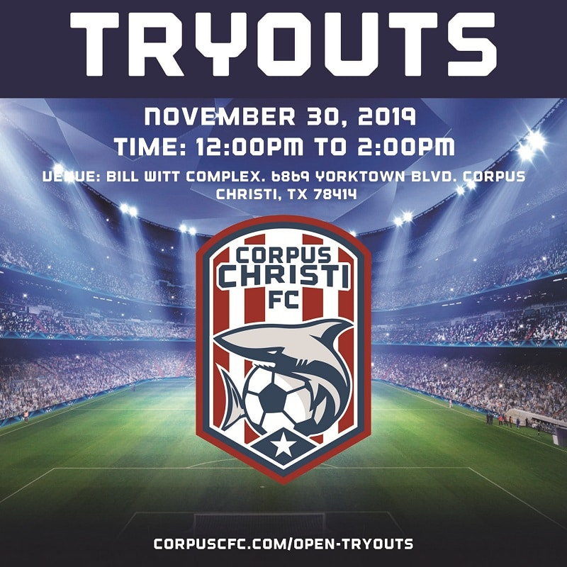 CORPUS CHRISTI FC ANNOUNCES TRYOUT FOR NOV 30 ,2019