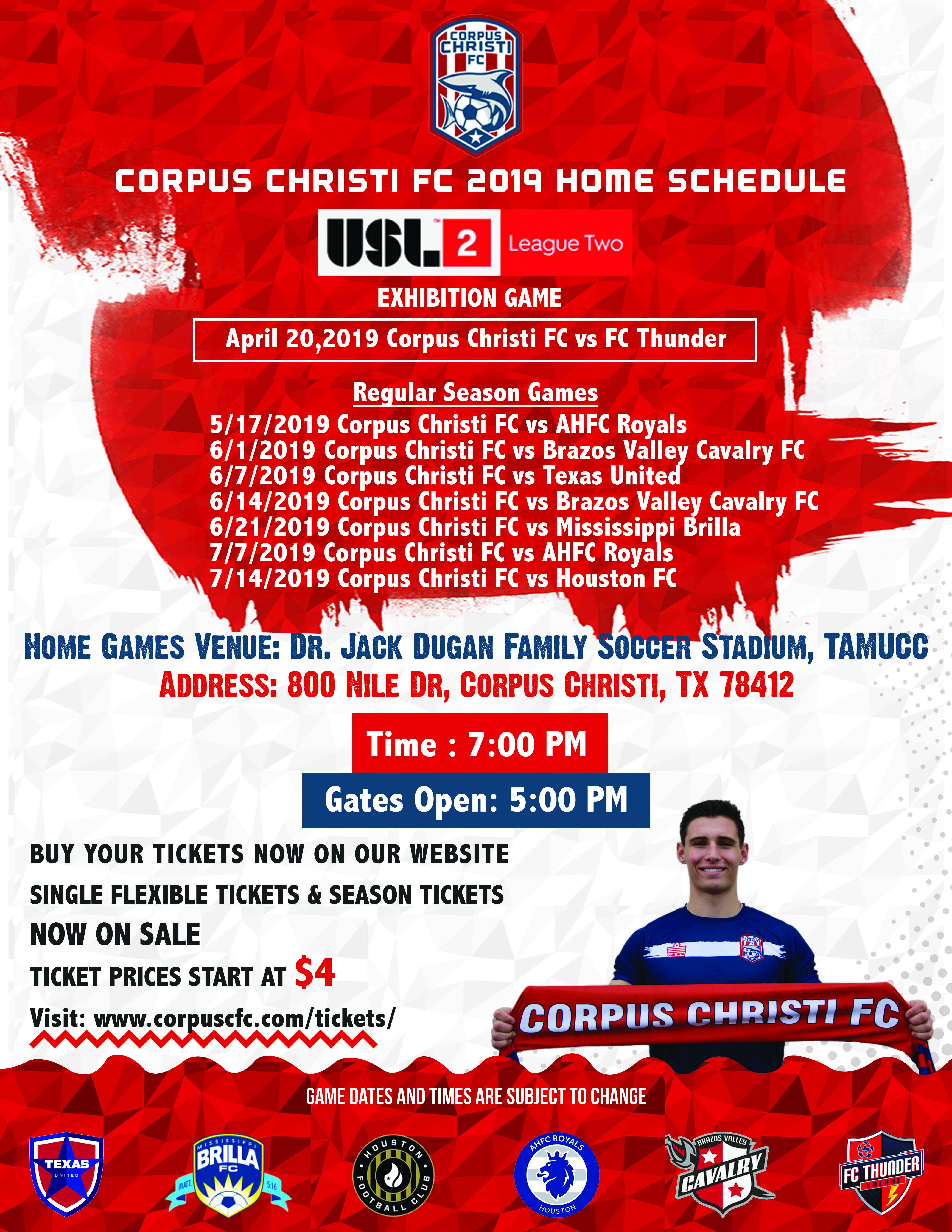 Corpus Christi Football Club Announces Its 2019 Schedule and Ticket Sale